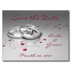 Wedding Rings and Hearts Save the Date Postcards