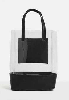 This bag features in a black hue with transparent and color block detail throughout with a handle. Satchel Handbags, Purses And Handbags, Clear Handbags, Cute Backpacks For School, Save The World, Transparent Bag, Leather Bags Handmade, Market Bag, Shopper Bag