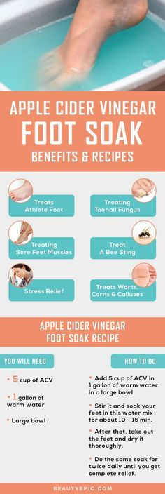 foot soaking can be one of the most relaxing ways to give relief to your foot. Apple cider Vinegar foot soak can soothe the hard skin of the foot, to treat