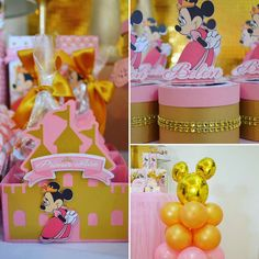 Pink and gold princess Minnie Mouse birthday party! See more party ideas at CatchMyParty.com!