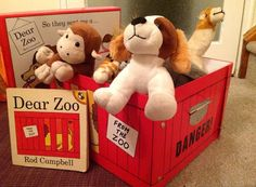 Box from The Works Story Sack, Dear Zoo, Sacks, Toy Chest, Storage Chest, Teddy Bear, How To Plan, Toys, Animals