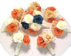 Wedding bouquet package in burnt orange and Navy by CENTERTWINE