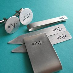 Mens Gift Set -Monogram Cuff Links, Collar Stays, Tie Bar and Money Clip -Personalized
