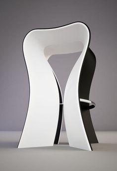 Omega barstool (concept), 2010 by Svilen Gamolov (fiberglass, stainless steel,soft seat with velvet upholster)