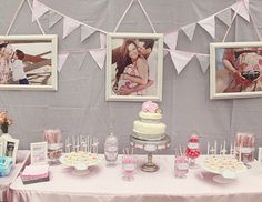 Vintage shower. Love the bump pics as part of the shower theme!