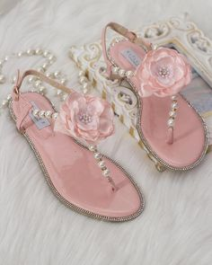 Women Wedding Pearl Sandal - CORAL Patent Pearl/Rhinestones flat sandal with Silk Flower. Bridal sandal, Bridesmaid sandal, Wedding Sandals