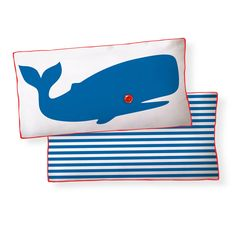 {Whale Pillow} with a button-eye and striped back!