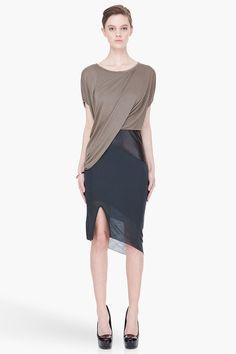 HELMUT LANG olive combo Slack Jersey Dress