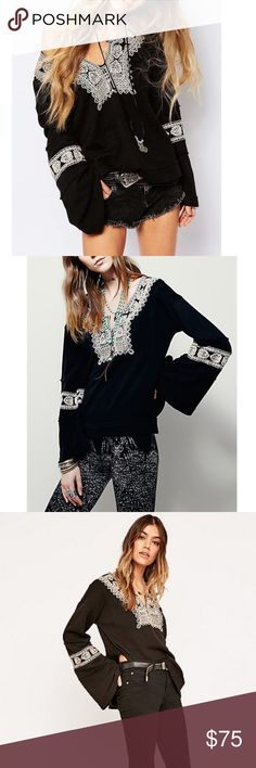 Free people Santa Maria blouse Contrast color stitching embellishes the neckline and sleeves of a bell sleeve pullover. - Split neck - Long bell sleeves - Embroidery detail Fiber Content: 100% cotton Care: Machine wash cold  Fit: this style fits true to size. Free People Tops Blouses