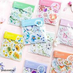 scrap-booking stickers with pressed flowers theme journal diary Planner