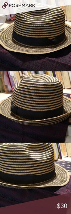 4768aaca8db Mens Summer hat by Perry Ellis. Stripped Summer Straw Hat. Beautiful with a  summer