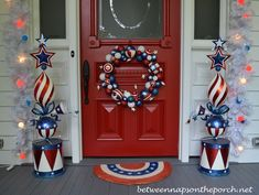 4th of July Front Porch Decorating Featured on Between Naps on the Porch