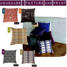 Soft Furnishings, Cushions for Autumn. Homebase texture and print by theanamumdiary, via Polyvore