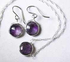 Genuine Amethyst 2-piece SET Real Amethyst Necklace Amethyst Earrings Amethyst Jewelry February Birthstone BZ-SET-105-Am/s by elizabethlydonstudio on Etsy