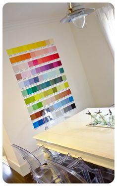 Great idea, made with Pantone Postcards! http://casaruim.com/produto/pantone-100-postais/