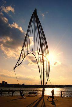 Hamilton, Ontario -- Sculpture on the Pier... The Rafaga at Sunset!
