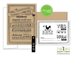 Chalky  quirky wedding invitation eco friendly by PapierLapin, $2.00