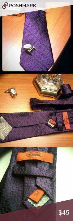 "100% silk Missoni Tie 59"" Missoni for target tie, 100% silk purple with black zigzagging made in china retail $55 to $120 Missoni Accessories Ties"