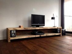 Lumber TV sideboard You are in the right place about Audio Room interior Here we offer you the mo. Diy Tv Stand, Tv Sideboard, Audio Room, Decor, Furniture, Home, Living Room Tv, Interior, Diy Tv