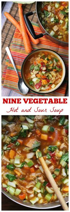 For a soup that will warm you up, wake up your taste buds with it's kick of peppery flavor, and keep you full for hours, this nine vegetable hot and sour soup just can't be beat!