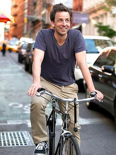 Seth Meyers riding a bike *sigh*
