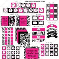 Diva Zebra  Deluxe Birthday Collection PRINTABLE Party  Hot pInk Black Zebra  - Cupcake Express. $35.00, via Etsy.