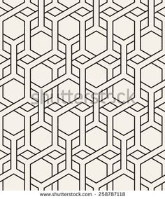 Vector seamless pattern. Modern stylish texture. Repeating geometric background with hexagonal interlaced grids - stock vector