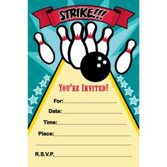 Nifty image inside printable bowling party invitations