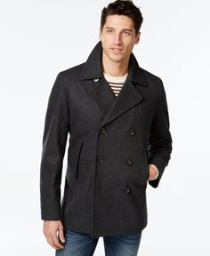 Inc International Concepts Double-Breasted Pea Coat, Only at Macy's