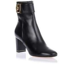 Salvatore Ferragamo Fiamma black leather ankle boot (1,585 ILS) ❤ liked on Polyvore featuring shoes, boots, ankle booties, black, black leather bootie, black leather boots, leather ankle boots, short leather boots and high heel boots