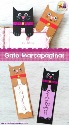 This cat bookmark craft is really simple and quick to make, and looks really cute peeking out from between the pages of a book! This cat bookmark craft is really simple and quick to make, and looks really cute peeking out from between the pages of a book! Bookmarks Diy Kids, Creative Bookmarks, Bookmark Craft, Handmade Bookmarks, Corner Bookmarks, Bookmark Ideas, Paper Bookmarks, How To Make Bookmarks, Cat Crafts