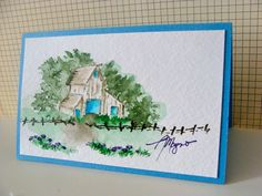Art Impressions Wonderful Watercolor.  Handmade water color barn and fence scene.
