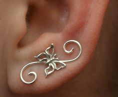 Swirly Butterfly Mini Ear Pin - Gold Filled and Sterling Silver - PAIR. $45.00, via Etsy.