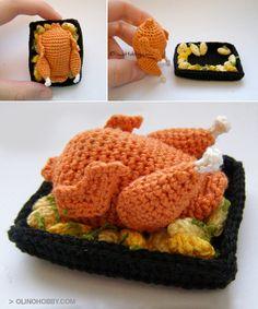 MICRO crochet roast chicken!!! #AMIGURUMI FOOD.