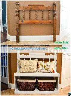 DIY Headboard Entry Bench with Best Bench DIY Projects furniture storage 20 Best Entryway Bench DIY Ideas Projects [Picture Instructions] Refurbished Furniture, Repurposed Furniture, Furniture Makeover, Repurposed Items, Furniture Projects, Diy Furniture, Diy Projects, Woodworking Furniture, Painted Furniture