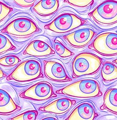 'Wall of Eyes in Purple' by Paisley Hansen – Trippy Psychadelic – pattern Iphone Wallpaper Eyes, Trippy Wallpaper, Wallpaper Ideas, Iphone Wallpapers, Psychedelic Art, Psychedelic Pattern, Trippy Drawings, Art Drawings, Photo Wall Collage