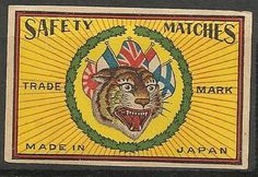 Old Matchbox Labels China Japan Tiger
