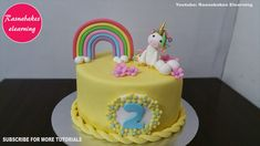 Unicorn theme simple birthday cake design ideas for boy girl kids Easy Kids Birthday Cakes, Simple Birthday Cake Designs, Easy Cakes For Kids, Birthday Cake Video, Cake Designs For Kids, Baby Girl Birthday Cake, Simple Cake Designs, Pig Birthday Cakes, Baby Girl Cakes