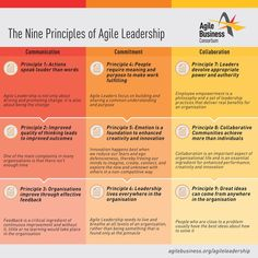 How can I become an agile business leader? - Graphic/chart of the nine principles of agile leadership You are in the right place about projects t - Agile Software Development, Leadership Development, Change Management, Business Management, Management Tips, 6 Sigma, Leadership Coaching, Change Leadership, Leadership Quotes