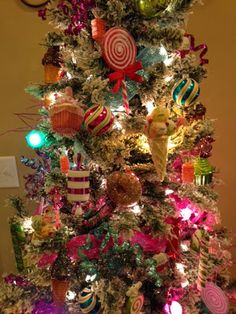 This is over-stuffed but has all christmasy colors. Candy themed Christmas tree!