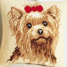 diy room d?cor 3TH CX0234 Long Hair Dog DIY Acrylic Yarn Embroidery Pillow Tapestry Canvas Cushion Front Cross Stitch Pillowcase * Shop now for Xmas. Find the details on  AliExpress.com, click the VISIT button.