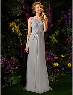 Bridesmaid Dress Sweep Brush Train Georgette And Lace A Line... – USD $ 99.99