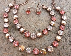 Swarovski Crystal Necklace - Sabika Inspired - pink and rose gold-GREAT PRICE on Etsy, $15.00