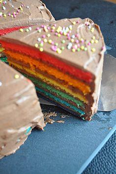 Gateau arc-en-ciel chocolat