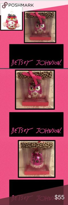 "🆕Betsey Johnson🎀Blown Glass Owl Ornament🎀 Whoot🦉Whoot🦉This beautiful blown glass Owl Collectable Ornament is from Betsey's🎀2010🎀Blown Glass Ornament Collection🎀pink polka dot ruffle trim🎀checkered bow🎀black crystals for eyes🎀create this chubby cute 🦉🎀pink glitter hearts on his belly3 1/2""L🎀3""round🎀found on Pinterest Only Betsey Johnson Accessories"