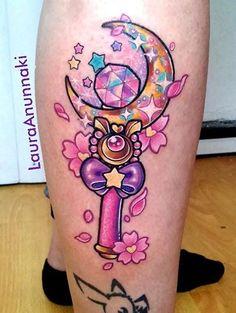 Sailor Moon wand tattoo by Laura Anunnaki. Girly Tattoos, Pretty Tattoos, Beautiful Tattoos, Body Art Tattoos, Small Tattoos, Kawaii Tattoos, Tatoos, Portrait Tattoos, Piercing Tattoo