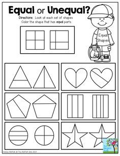 First Grade NO PREP Fractions Pack (Color-in, Matching, Sorting ...