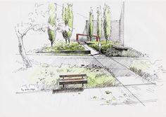 by Wiktor Kłyk Landscape Sketch, Landscape Elements, Landscape Drawings, Landscape Illustration, Landscape Design, Interior Architecture Drawing, Architecture Concept Drawings, Garden Architecture, Pavilion Architecture
