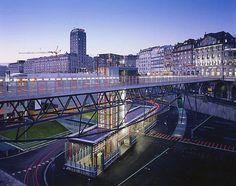 Interface Flon Train Station, Lausanne, Switzerland Lausanne, Bus Stop Design, Architect Magazine, Rapid Transit, Lake Geneva, Bus Station, Train Tracks, Honeymoon Destinations, Public Transport