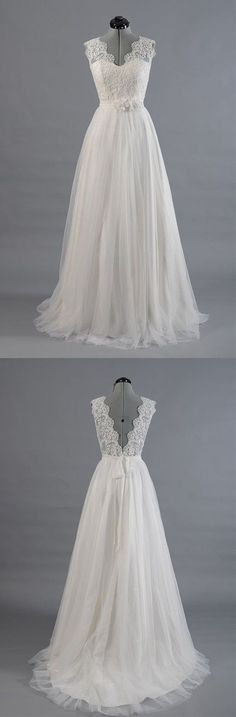 Princess A Line V Neck Empire Waist White Lace Wedding Dress
